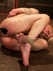 Hot blonds nipples are abuse, feet tickled, & pussy fucked with a stick, made to cum like a whore.