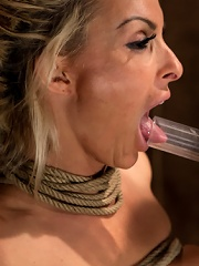 Holly Halston all American MILFHer massive breasts oiled watered & bound, she cant stop cumming
